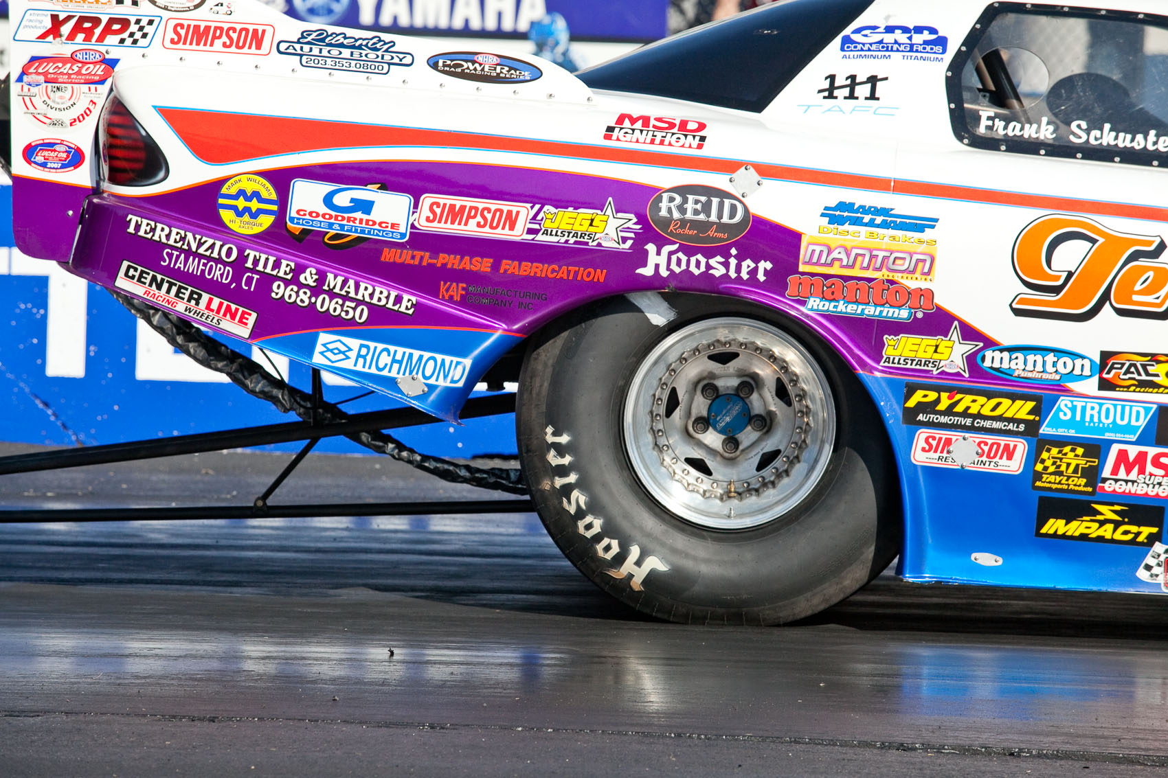 Location Photograph of Hoosier Racing Slicks on a Funny Car at the Toyo Tire Nationals at Maple Grove Raceway in Mohnton, PA | J. Eldon Zimmerman Photography | Lancaster, PA Commercial Photographer