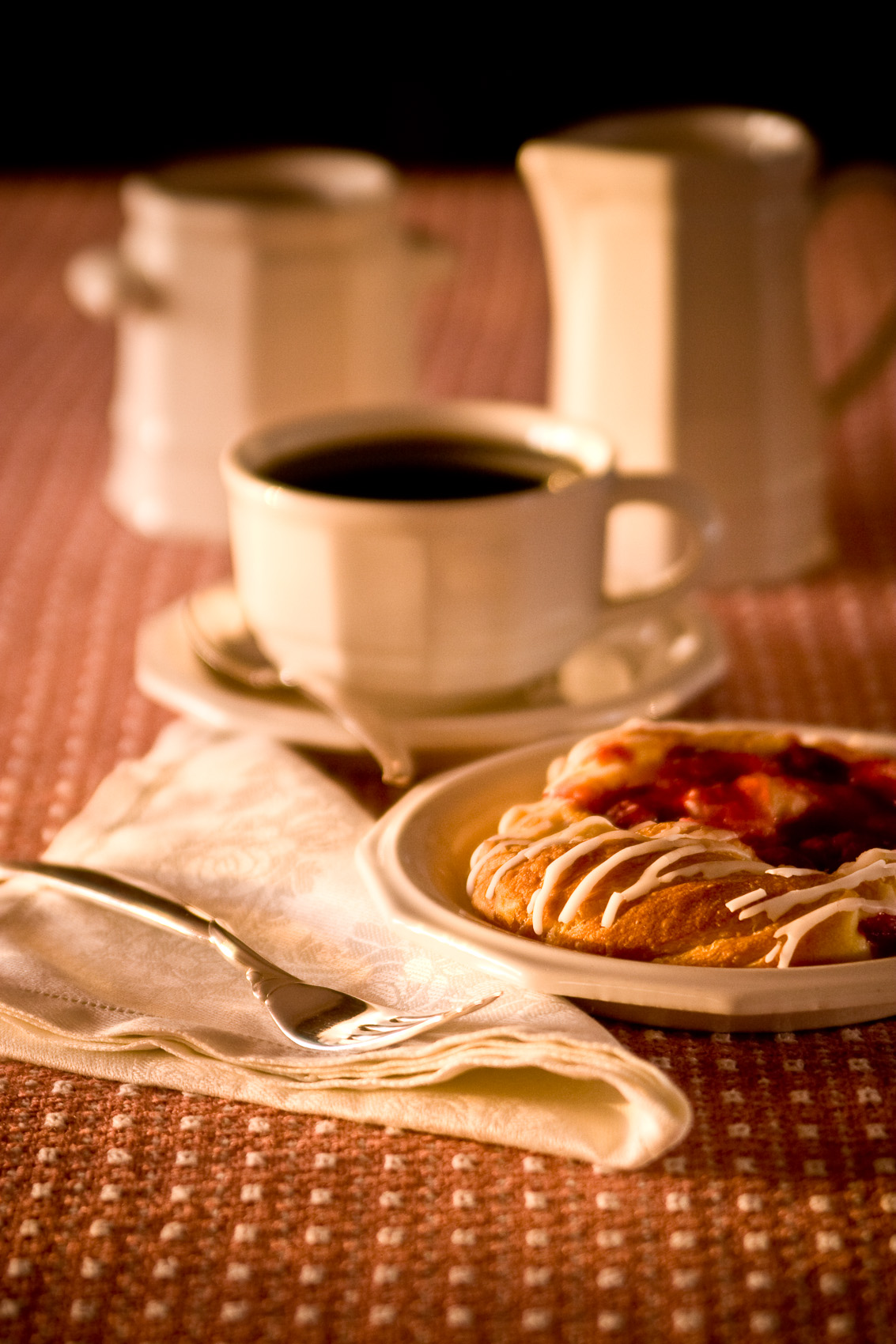 Food Still Life of Coffee and Danish on Classic Dinnerware | J. Eldon Zimmerman Photography | Lancaster, PA Commercial Photographer